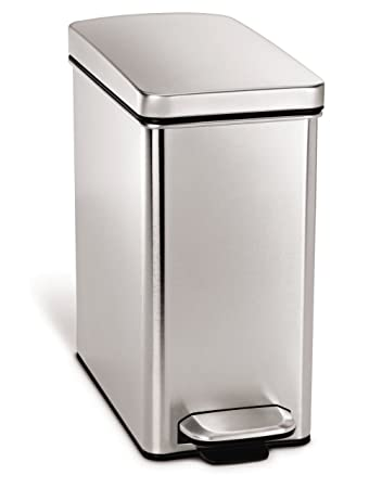 Simplehuman Profile Step Trash Can, Stainless Steel, 10 L / 2.6 Gal
