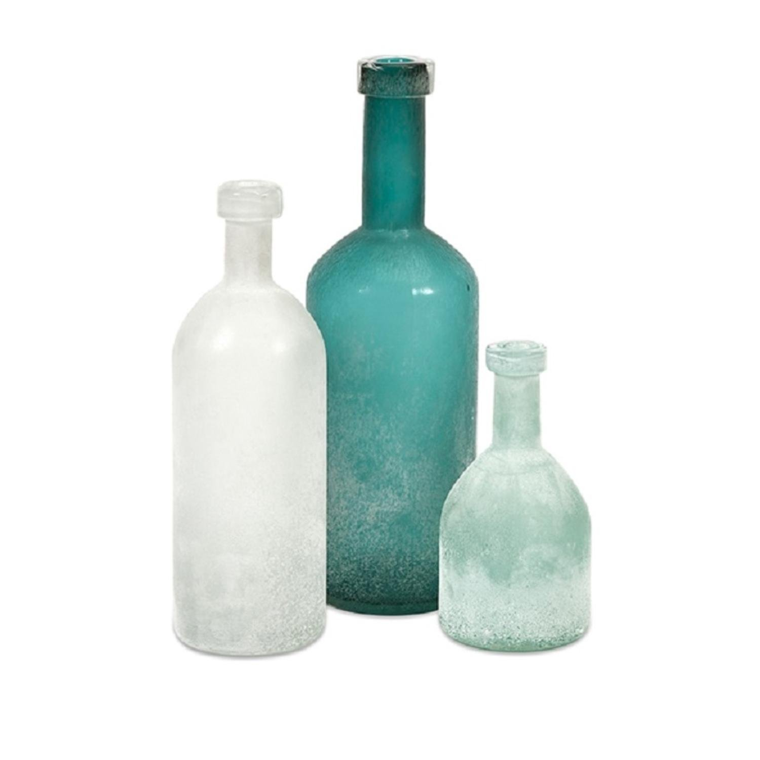 Amazon.com: Set 3 Botellas De Vidrio Decorative Handblown Frosted Glass Bottles 15