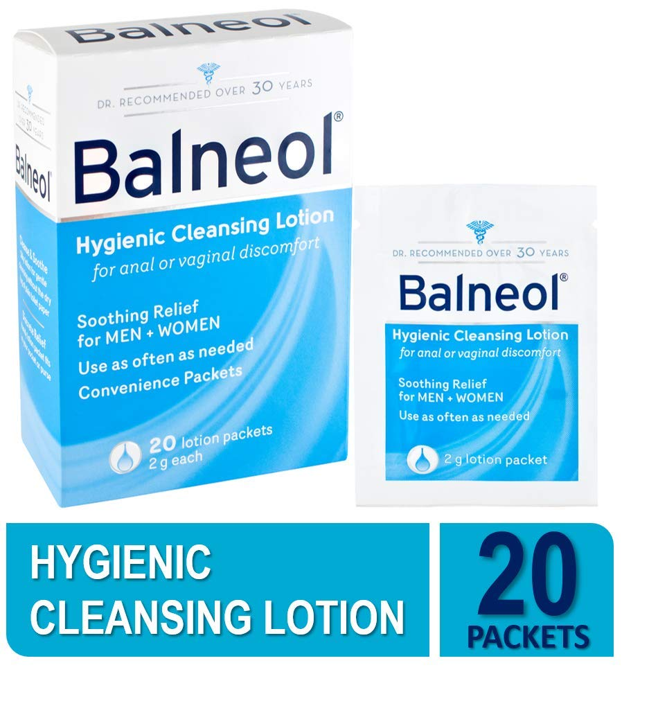 Balneol Hygienic Cleansing Lotion, Gentle Intimate Cleansing Lotion for Sensitive Skin and Pelvic Region, 20 Lotion Packets Each (Value Pack of 2)
