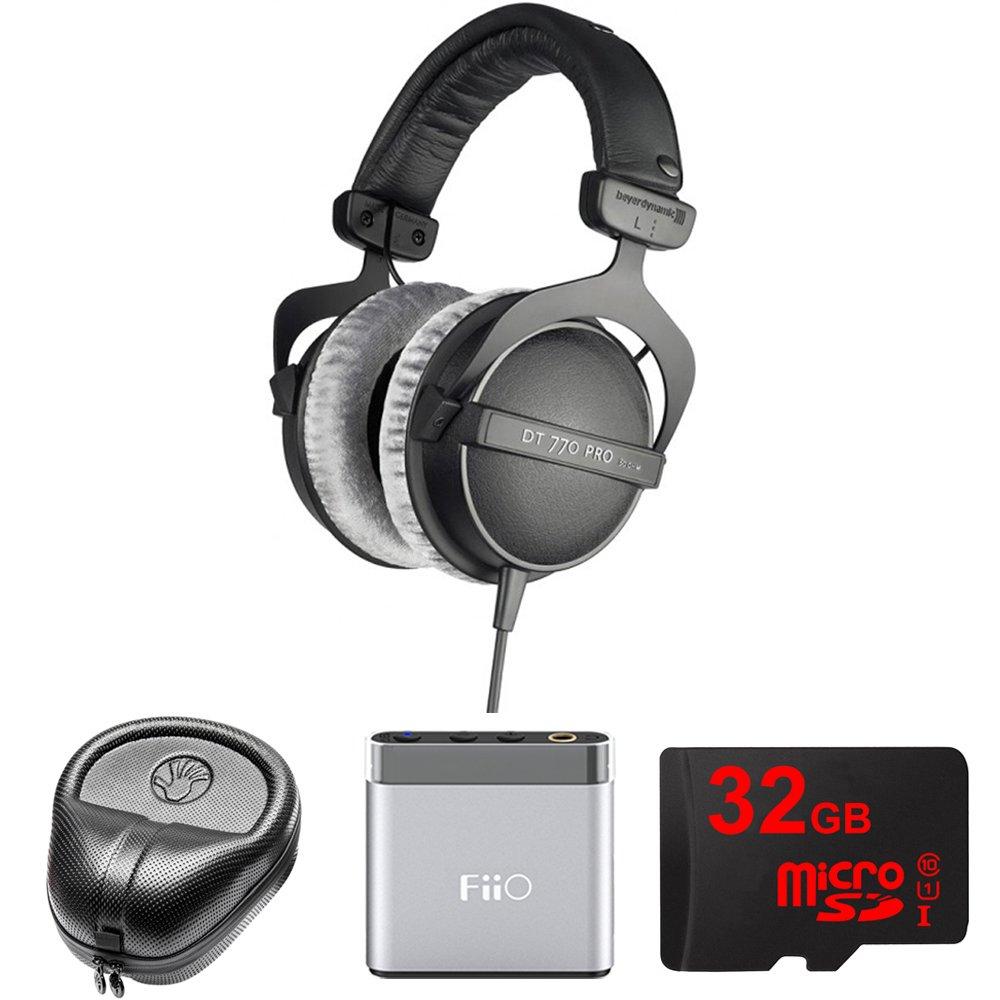 BeyerDynamic Headphones - 80 ohms (DT 770-PRO) with Slappa HardBody Headphone Case, FiiO A1 Portable Headphone Amplifier (Silver) & 32GB MicroSD High-Speed Memory Card by Beach Camera