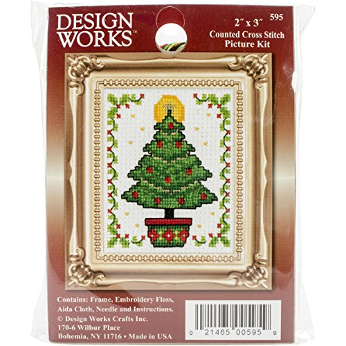 Tobin Christmas Tree Ornament Counted Cross Stitch Kit, 2-In