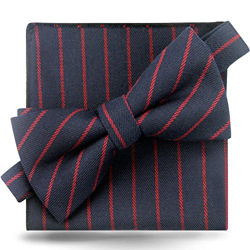 - Bow Tie Pocket Square Set Cotton Bow Tie Set for Men Wedding Party Self Neckties