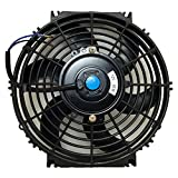 Upgr8 Universal High Performance 12V Slim Electric Cooling Radiator Fan With Fan Mounting Kit (10 Inch - Black)