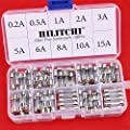 Hilitchi 150pcs Fast-blow Glass Fuses Quick Blow Car Glass Tube Fuses Assorted Kit Amp