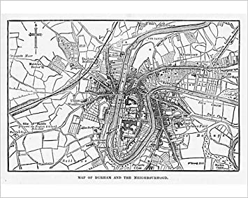Amazon Com 10x8 Print Of Map Of The City Of Durham England