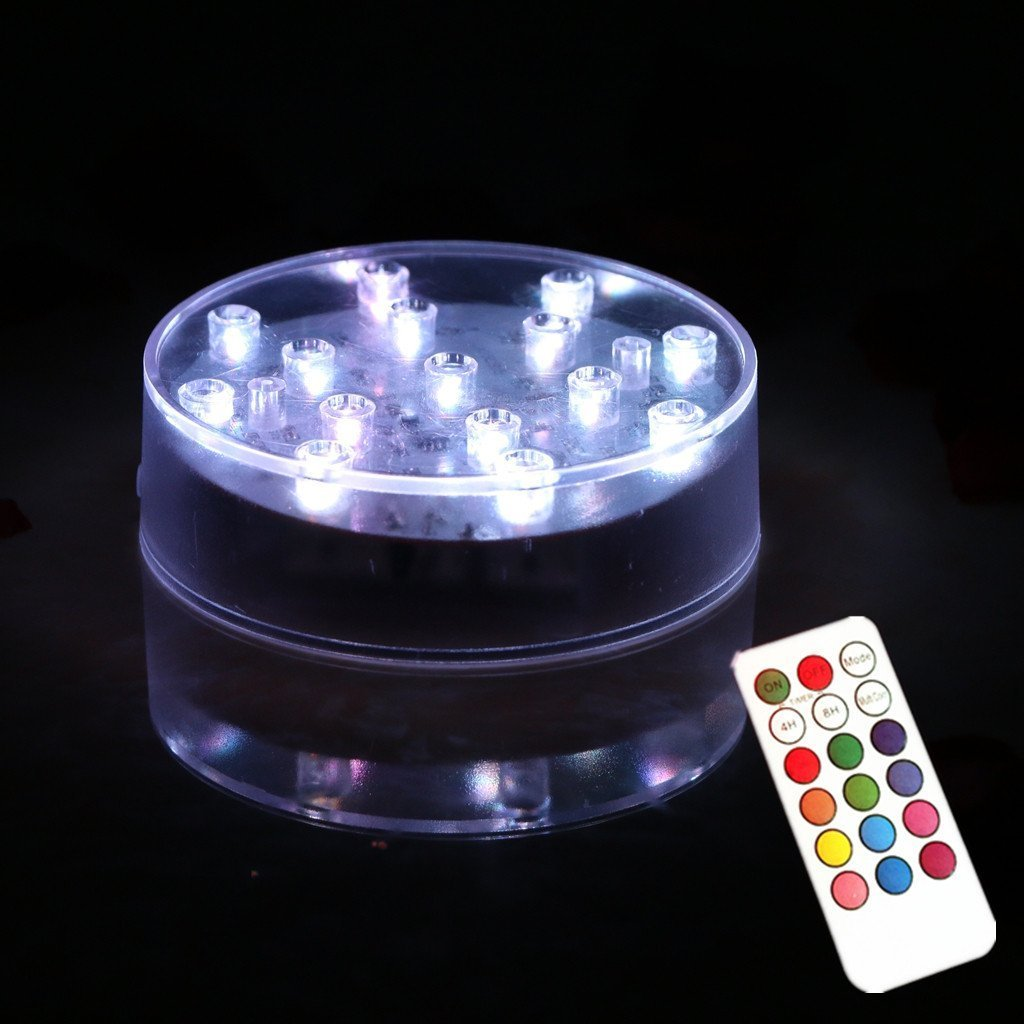 ARDUX 4 inch Round 15 Leds RGB LED Vase Base Light with 18 Key Remote Control for Home Vases Table Decoration