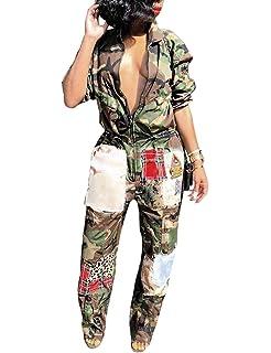 a0dcb0016cdd Angsuttc Women Camouflage Print Long Sleeve Zipper Turn Down Collar Wide  Leg Jumpsuit