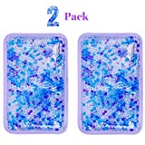 Hot and Cold Gel Bead Ice Pack (2-Pack) by FOMI Care | Lavender Scented | Reusable Cold Wrap, Cold Compress & Heating Pad | Freezable, Microwavable | Fabric Backing (7.5' x 4.5')
