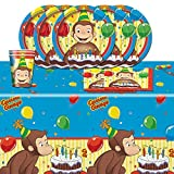 Curious George Childrens Birthday Complete Party Tableware Pack for 16