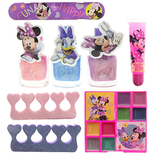 TownleyGirl Minnie Mouse Total Beauty Set for Girls, Lip Gloss, Nail Polish, Eye Shadow, Zippered Bag