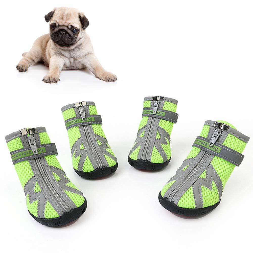Naivedream All Weather Dog Hiking Shoes, Dog Outdoor Shoes with Anti-Slip Sole, Reflective Pet Running Shoes,Paw Protectors with Adjustable Straps, Zipper Closure and Easy to Wear, Bright Colors by Naivedream