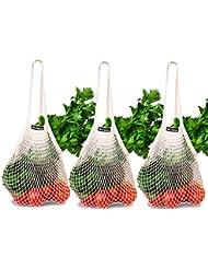NetNeed Ecology Reusable Organic Cotton Mesh Grocery Net Shopping Produce Bag - Set of 3