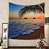 Gzhihine Custom tapestry Beach Tapestry Sunset Decor Pacific at Lanikai Beach Hawaii Colorful Sky Wavy Ocean Surface Scene Bedroom Living Room Dorm Tapestry Blue Ivory