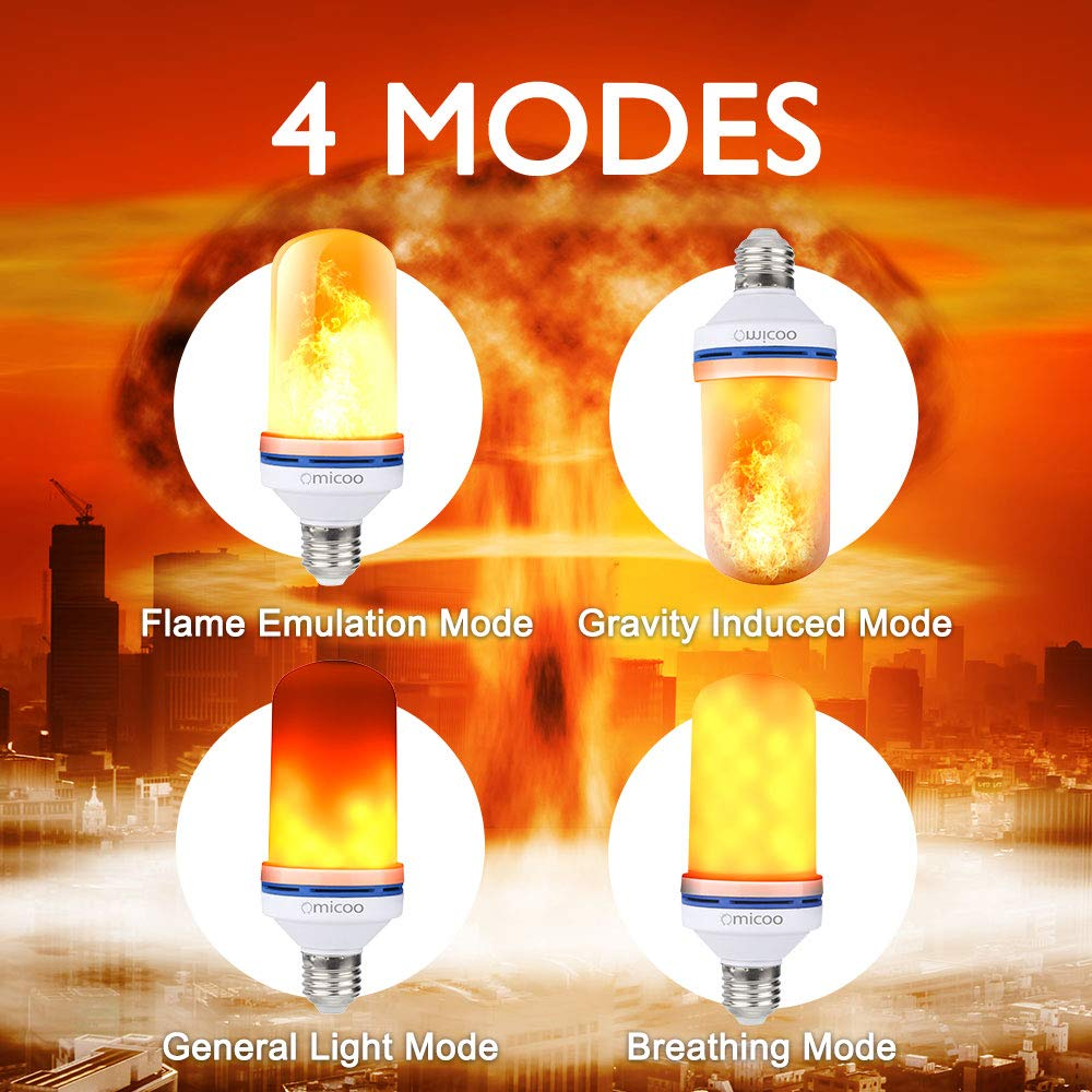 Omicoo LED Flame Effect Fire Light Bulbs E26 E27 4 Modes with Upside Down Effect