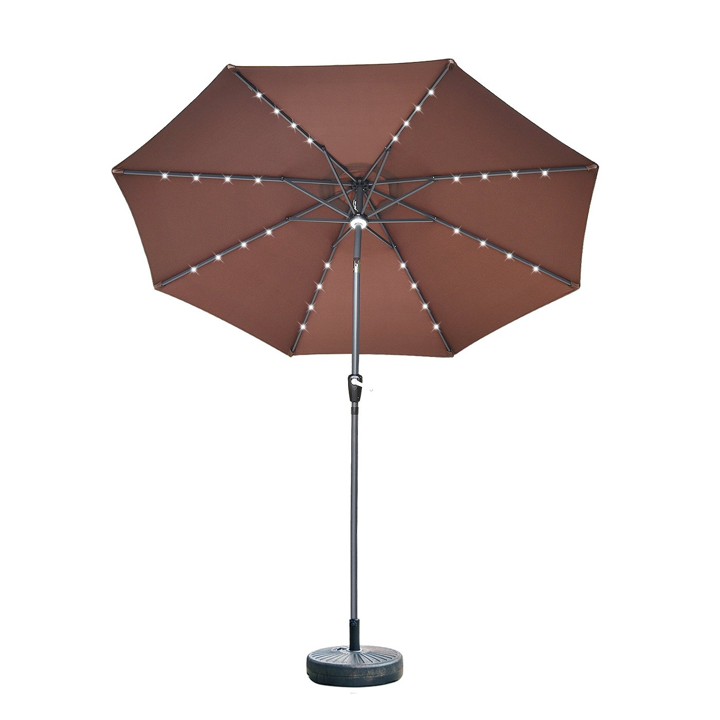 Elecwish 9ft Outdoor Patio Umbrella, with 32 LED Solar Lights and Central Hub Light, 3 Dimming Modes, Tilting and Crank, Waterproof Polyester Canopy, PA Coating and 98% UV Protection - Beige