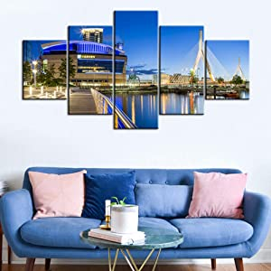 Blue Skyline Home Decor Living Room TD Banknorth Garden Canvas Wall Art Hockey Sports Boston Bruins Stadium Painting American Cityscraper HD Picture Multi Panel Framed Ready to Hang(60Wx32H inches)