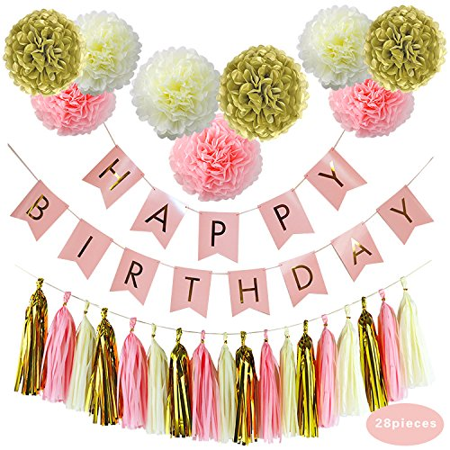 Party Decoration Supplies BCopter Tissue Pom Poms Paper Flowers Ball Lanterns Tissue Tassel Pink Cream Glitter Gold Circle Garland Hanging Craft Decoration Set, Birthday Bridal Baby Showers Wedding