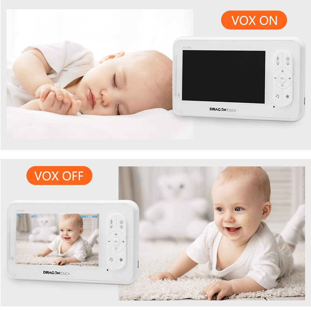 Baby Monitor, Dragon Touch DT40 4.3 Inch Video Baby Monitor with Camera, Infrared Night Version, Support Multi Cameras, Temperature Monitoring, Lullaby, Two-Way Audio and VOX Auto Baby Camera by Dragon Touch (Image #3)