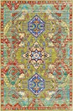 Traditional Modern Design Rugs Light Green 4′ 11 x 8′ FT (244cm x 152cm) Shoreditch Contemporary Area Rug Distressed Fancy