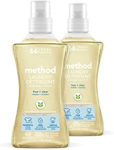 Method Laundry Detergent, Free + Clear, 53.5 Fluid Ounces, 66 Loads, 2 pack, Packaging May Vary