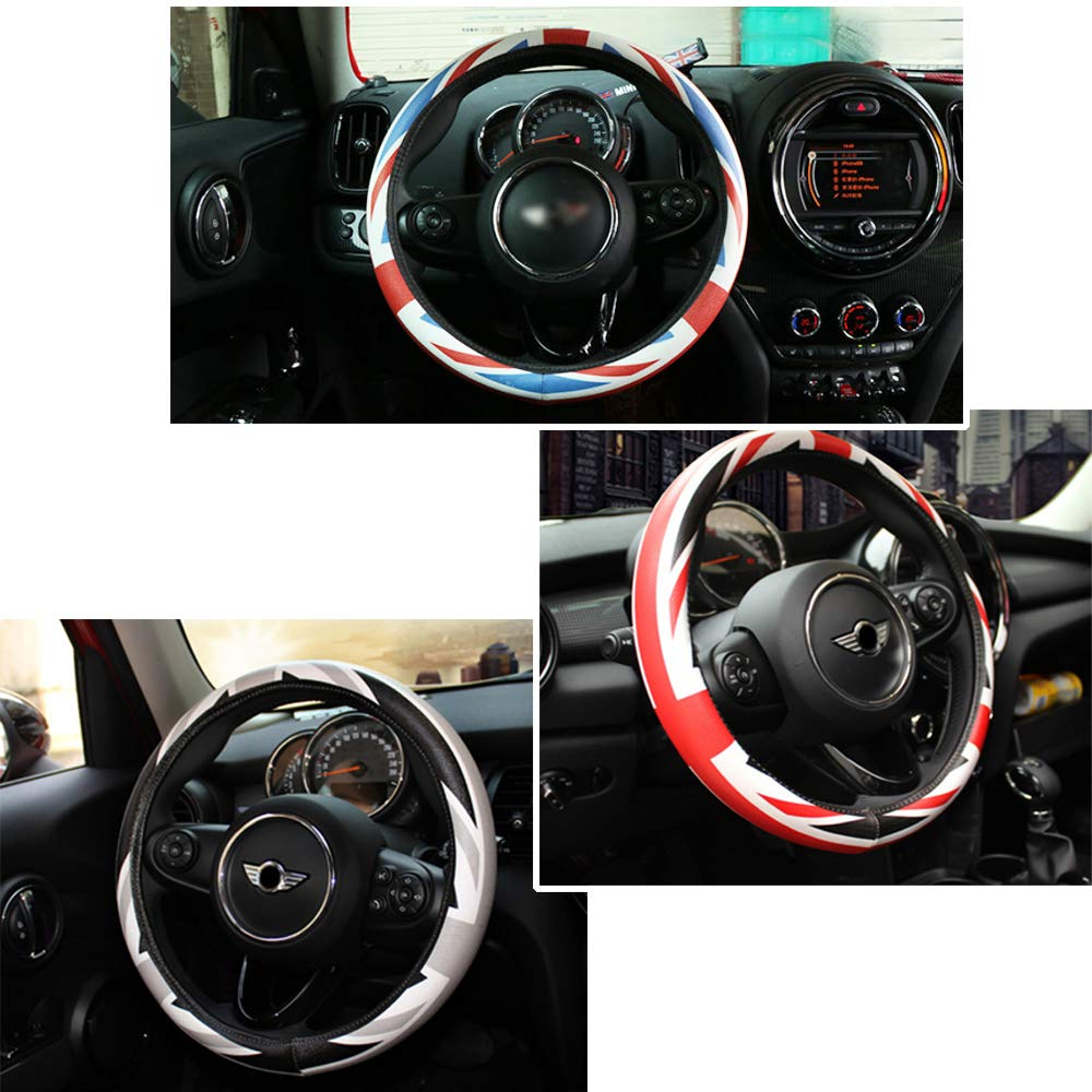 QIDIAN Car Steering Wheel Cover Decal Accessories for Mini Cooper JCW Clubman Countryman F54 F55 F56 F60 R55 R56 R60 Steering Wheel Cover Car Decal Styling Accessories Both Sides Checker