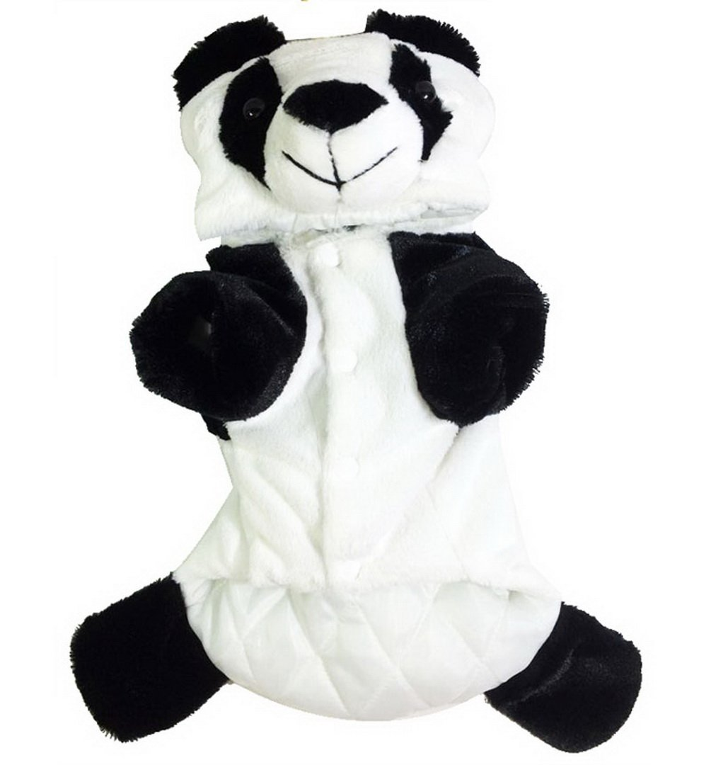 smalllee_lucky_store Small Dog Animal Button Front Winter Panda Hooded Pajamas for Girls/Boys, White, Small