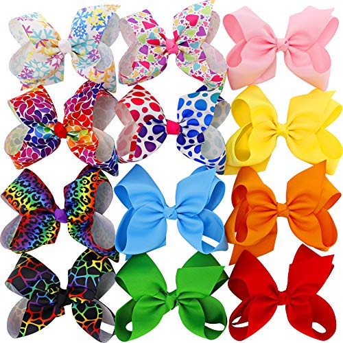 6 inches Big Large Grosgrain Ribbon Hair Bows Boutique Raibbow Hair Bow Clips For For Girls Teens Toddlers Kids Set Of 12 from Myamy
