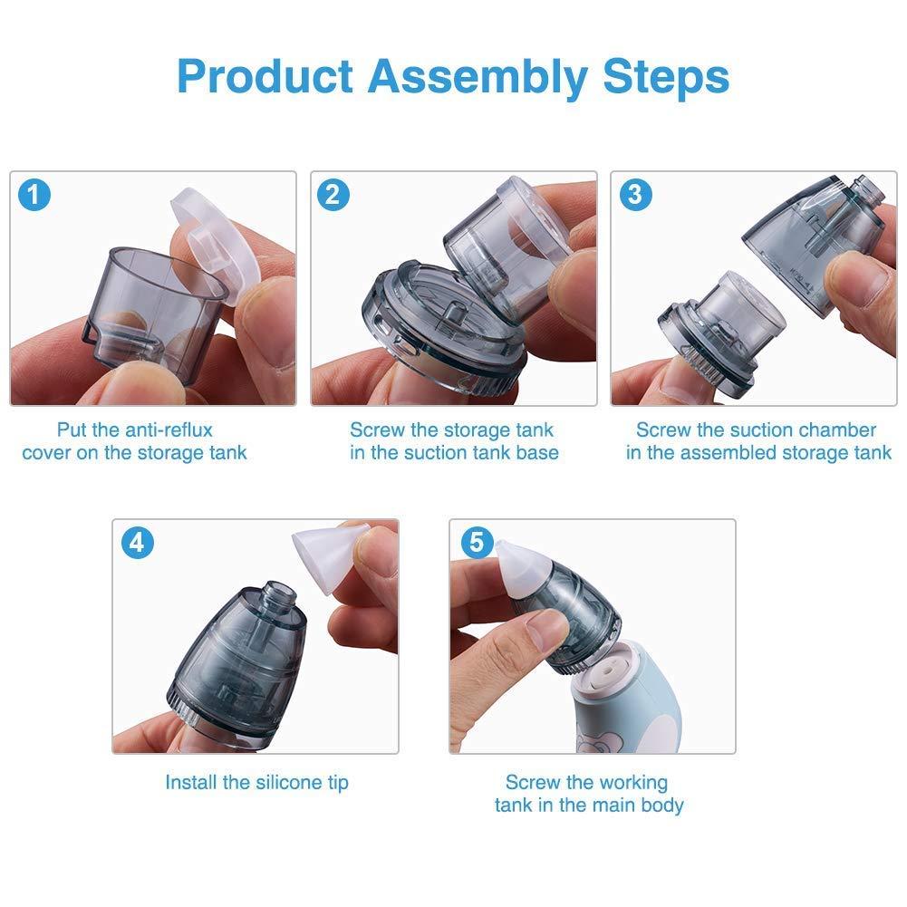 elektrischer Nasensauger /& Ohrenschmalzentferner mit 4 wiederverwendbaren Rotz-Saugd/üsen f/ür Neugeborene Bichiro Nasensauger Kleinkinder und Kleinkinder