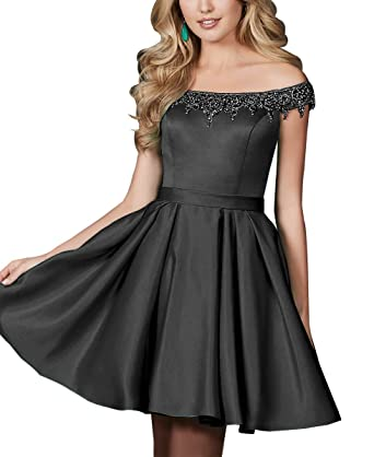 Satin Beaded Homecoming Dresses Off The Shoulder Short Prom Dresses for Juniors Black Size 2
