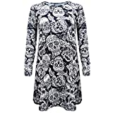 Halloween Costume, Kimloog Women Skull Floral Print Long Sleeve Hallowmas Party Casual Funny Short Mini Dress (L, Black)