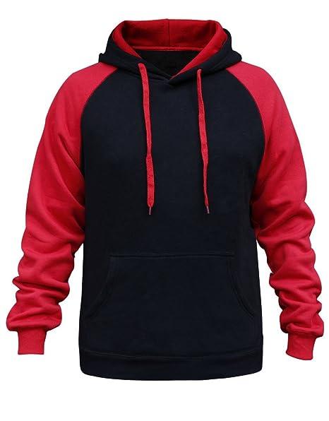 JYR Sudaderas con Capucha Deportivas Deportivas de los suéteres de los Hombres de los Hombres Tamaño: S a 6XL- Negro & Rojo: Amazon.es: Ropa y accesorios