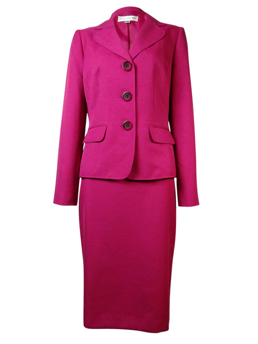 Evan Picone Womens Park Avenue Three-Button Long Sleeves Skirt Suit Pink 10