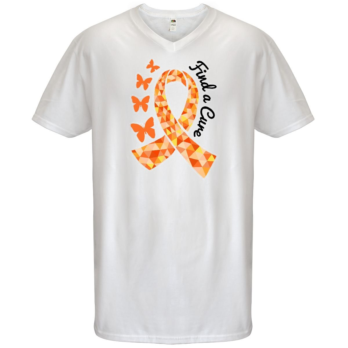 4a055c8c385 Inktastic - Find a Cure with Orange Ribbon and Men s V-Neck T-Shirt Small  White  Amazon.com  Books