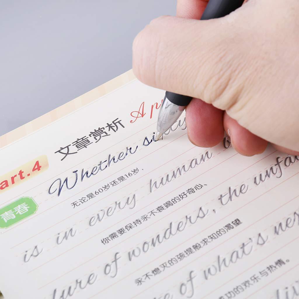 Scrivendo Quaderno di Calligrafia Inglese per Bambini Adulti Esercizi Groove Scrittura a Mano Libro di Pratica certylu Articoli per Ufficio
