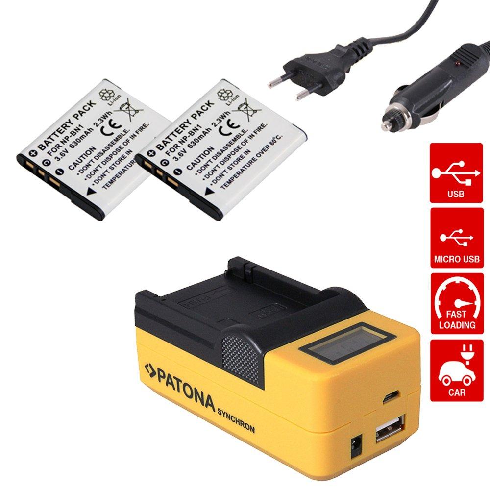 USB LADEGERÄT 2x PATONA BATTERY AKKU NP-BN1 für  Sony Cyber-shot DSC-W710