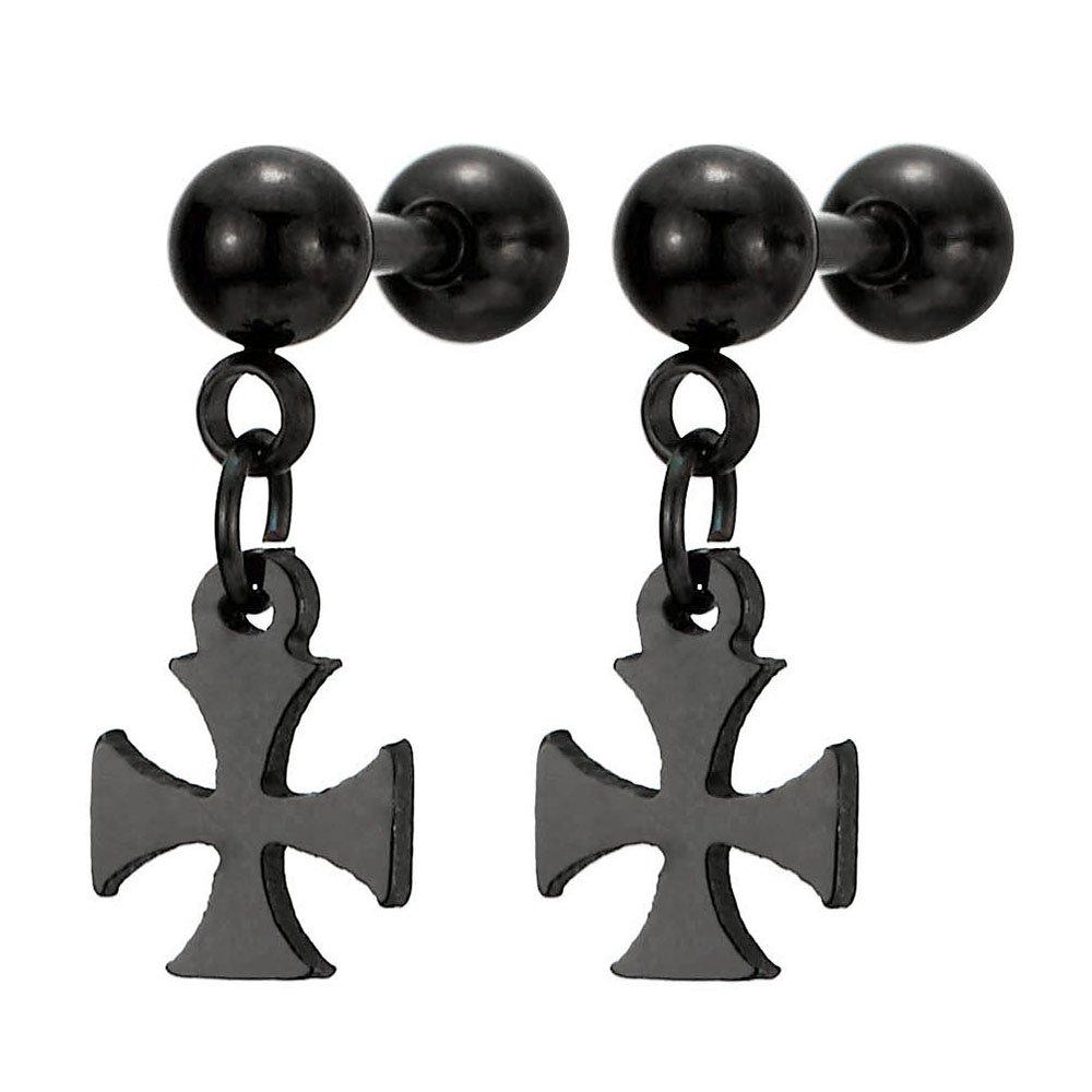 1 Paire Noir Barbell Boucles d'oreilles avce Pendantes Croix - pour Homme Femme - Acier Inoxydable - Revisser COOLSTEELANDBEYOND ME-860