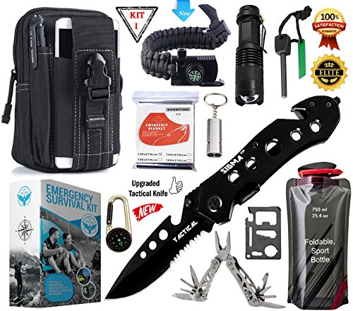 SIGMA – Emergency Survival Gear Kit, Upgraded Tactical Knife & Outdoor Camping Tools – Military Molle Pouch & Survival Bracelet For Camping, Hiking, Hunting, Driving, Fishing, Biking & Earth-quack