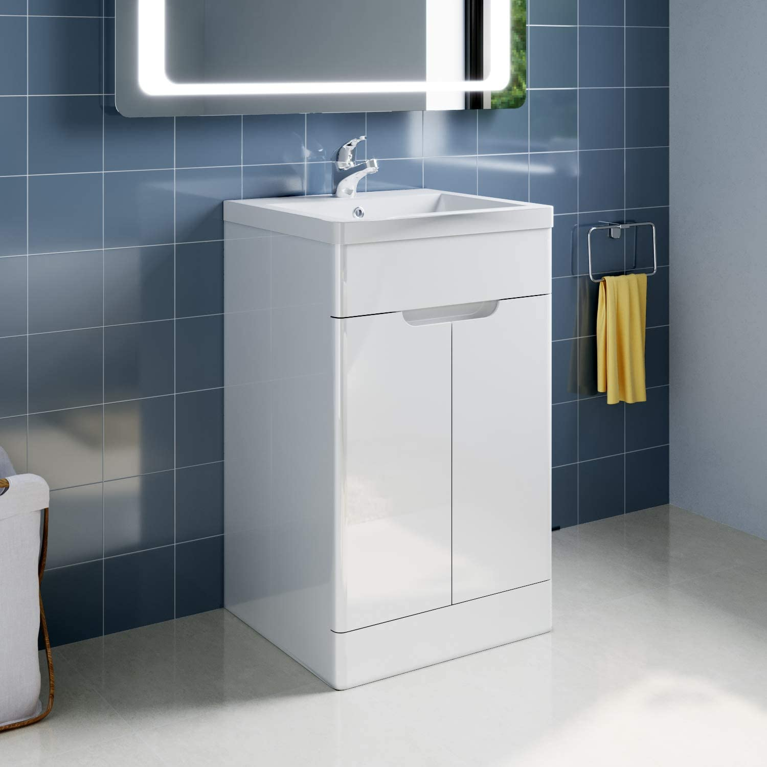 Elegant 490mm Vanity Cabinet With Sink High Gloss White Bathroom Vanity Sink Units With 2 Soft Close Door Without Handle Polyresin Basin Free Standing Basin Vanity Cabinet Units Amazon Co Uk Kitchen