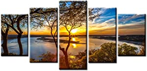 Beautiful 5 Pieces Canvas Wall Art Sunset Lake Tree Landscape Canvas Paintings Posters Print on Canvas Stretched and Framed Ready to Hang