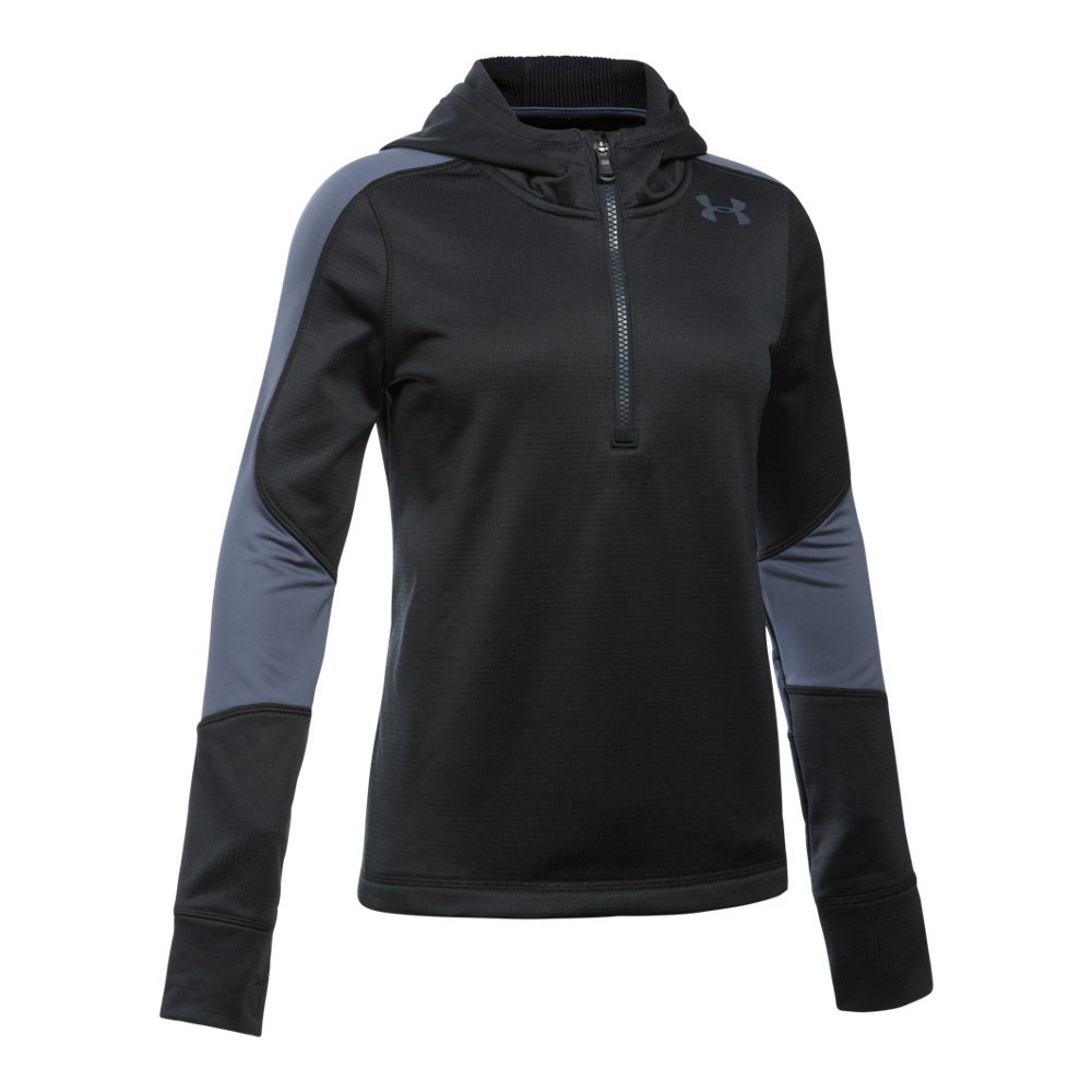 Under Armour Girls' ColdGear Reactor Fleece 1/2 Zip Hoodie,Black (001)/Apollo Gray, Youth X-Small