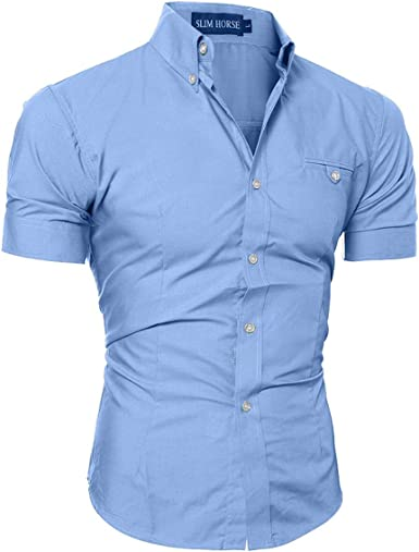 Camisas Casuales, Camisa de los Hombres Slim-Fit Camisas de Manga Corta, Mezcla de algodón del Verano, Micro-elástico Slim Fit para la Camiseta de Negocios, Boda Color Puro Camisa de Manga Corta: Amazon.es: