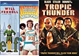 Tropic Thunder + Semi-Pro & Elf DVD Will Ferrell Collection Comedy Set 3 Movies