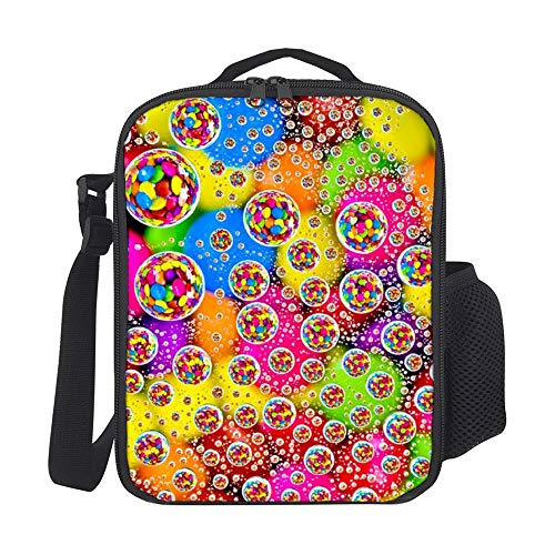 SARA NELL Kids Lunch Backpack Lunch Box Colorful Tige Dye Circle Lunch Bag Large Lunch Boxes Cooler Meal Prep Lunch Tote With Shoulder Strap For Boys Girls Teens Women Adults