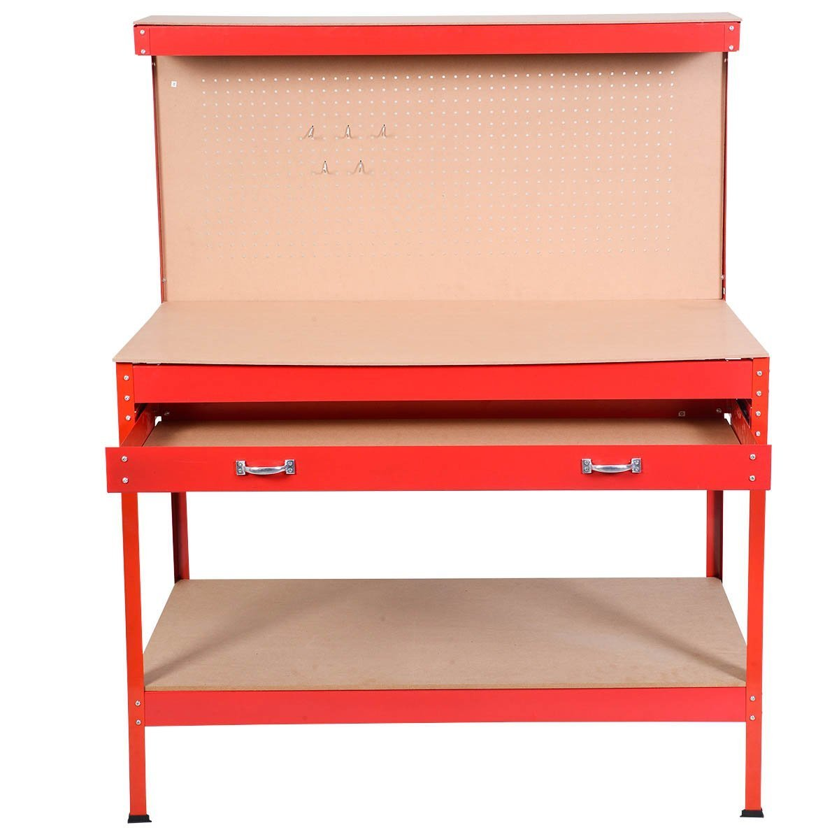 Goplus Steel Workbench Tool Storage Work Bench Workshop Tools Table W/Drawer and Peg Board (Red)