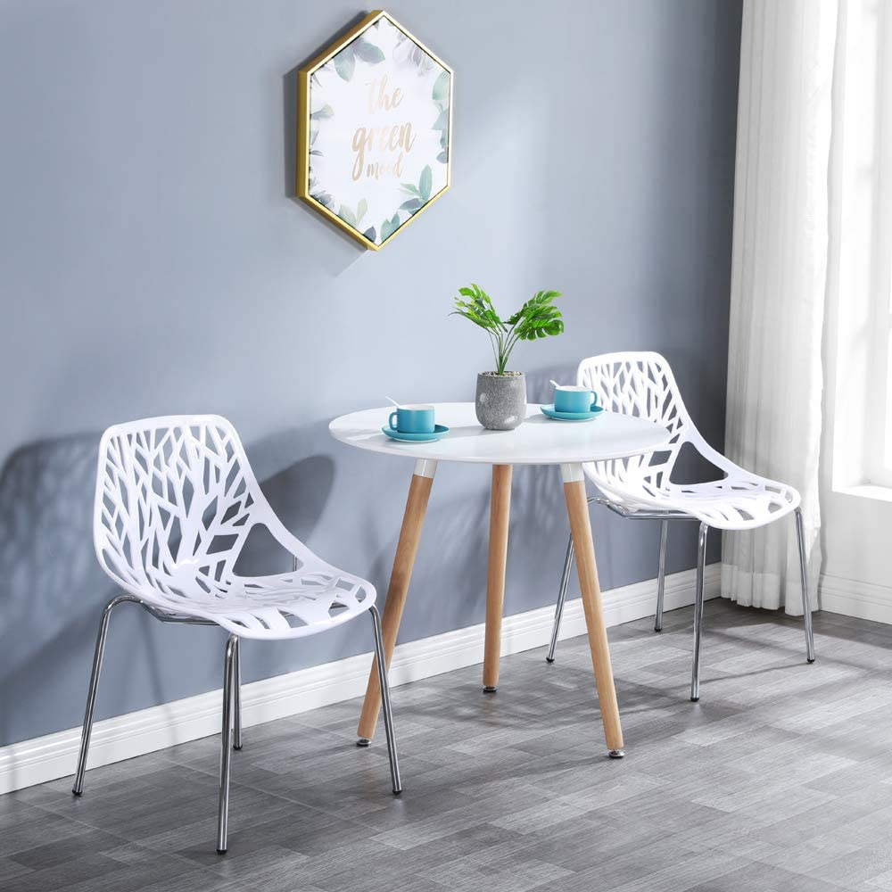 Bonnlo Modern Stackable Chair Set of 4 Kitchen Dining Chair Birch Sapling Comfy Chairs for Indoor Outdoor Use White