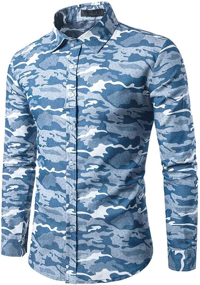 Camisas Casual Hombre Manga Larga, Covermason Camisa Ajustada de otoño Ajustada Slim Casual de los Hombres: Amazon.es: Ropa y accesorios