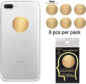 Anti Radiation Shield EMF Protection Sticker EMR Blocker Cell Phone (Gold 6pcs)