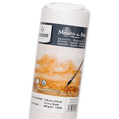 Canson Moulin du Roy - Rollo papel de acuarela, 1.30 x 9.15m, color blanco natural: Oficina y papelería