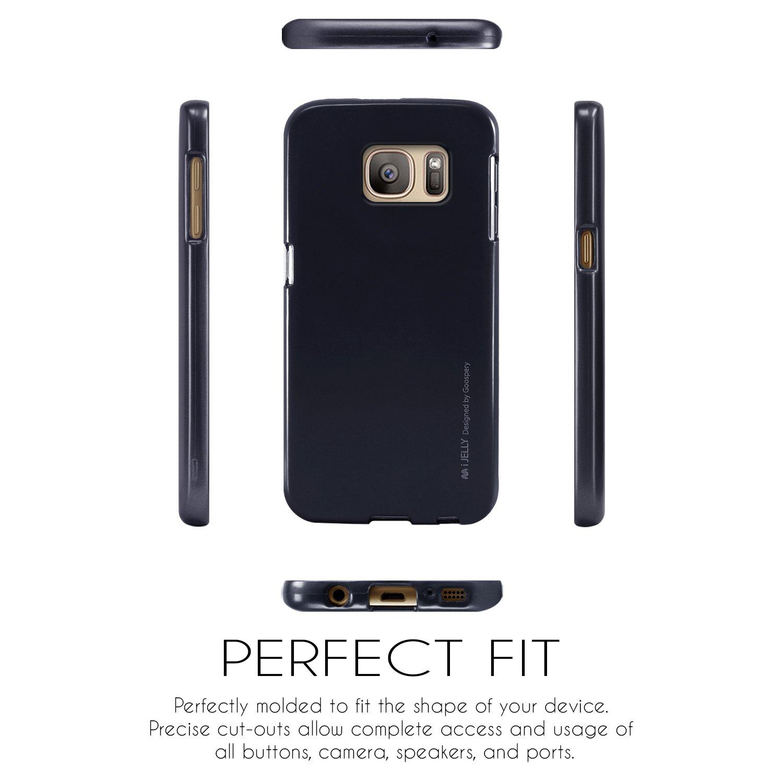 Galaxy S7 Case Ultra Slim Fit Goospery I Jelly Samsung Edge Soft Feeling Black Metallic Finish Premium Tpu Cover Anti Yellowing Discoloring For