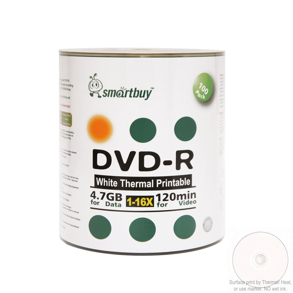 Smartbuy 100-disc 4.7gb/120min 16x DVD-R White Thermal Hub Printable Blank Media Recordable Disc